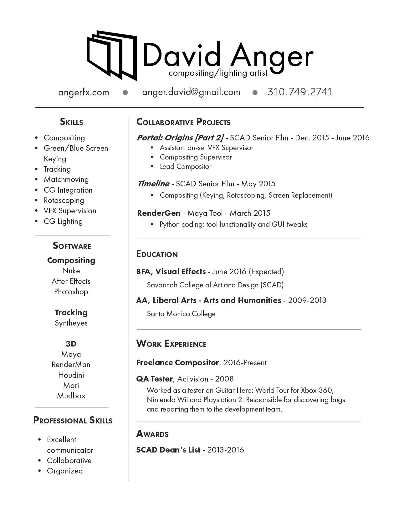 Resume David Anger